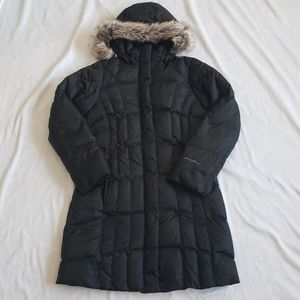 Eddie Bauer black long down jacket faux fur hood